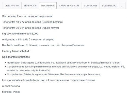 bancomer requisitos