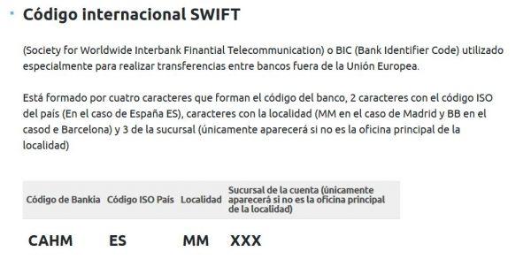 iban swift codigo bankia