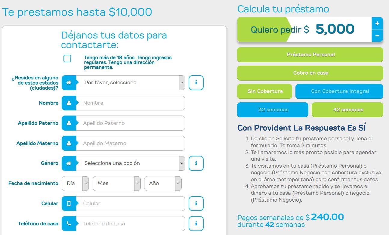 Calculadora de préstamos Provident
