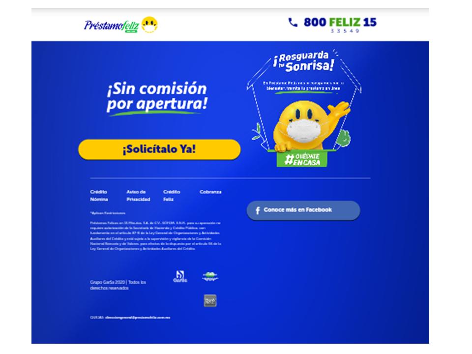 página oficial préstamo feliz