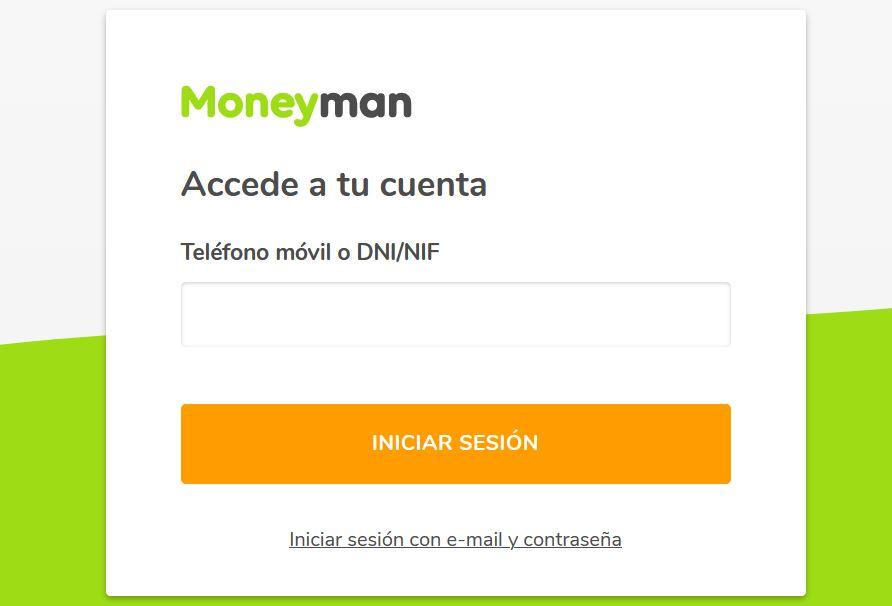 Página de ingreso a cuenta en MoneyMan