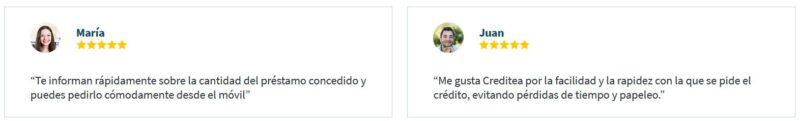 Opiniones de clientes creditea 1