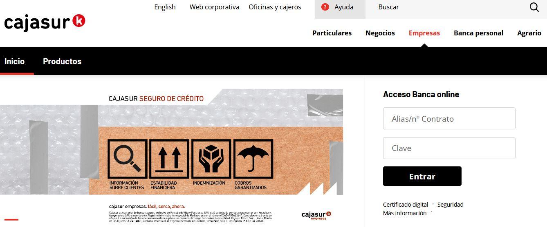 acceso onlne Cajasur Empresas
